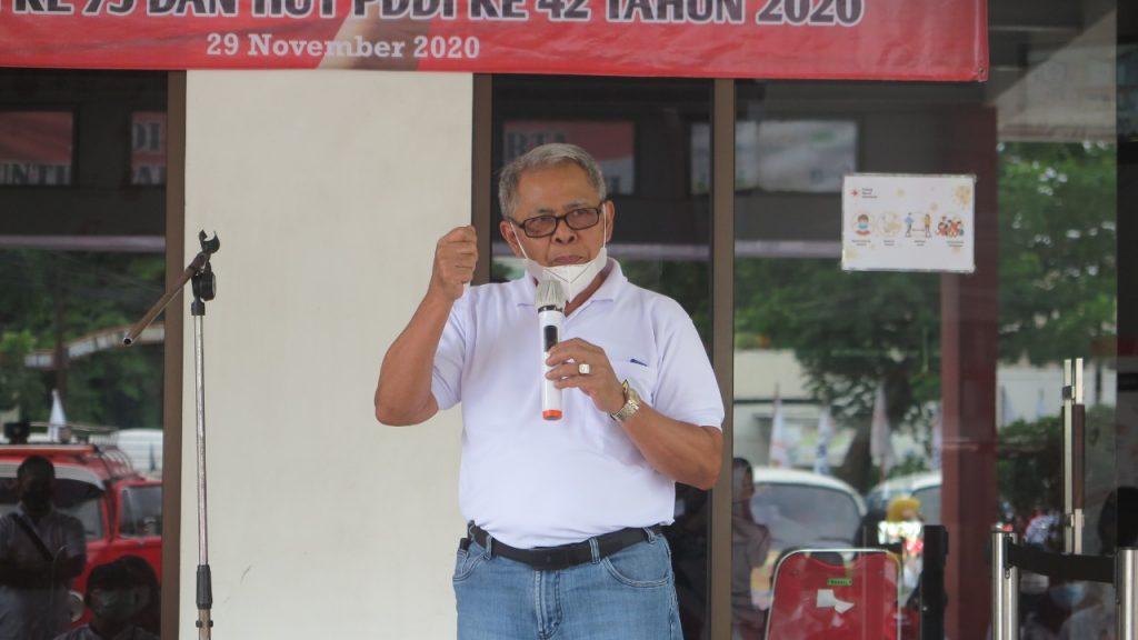 H. Sabri Saiman, ketua PMI Jakarta Utara memberikan sambutan.